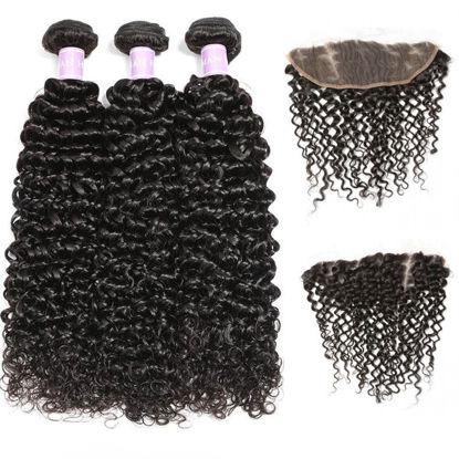 SocoosoHairWig indian curly hair weave 3 bundles plus 1 free part type lace frontal set