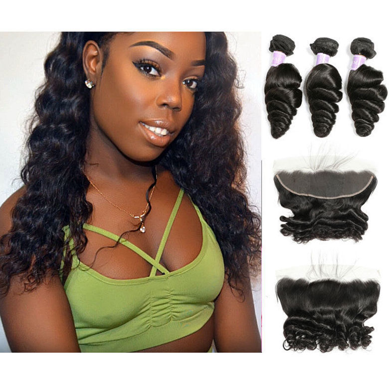 SocoosoHairWig brazilian loose wave 3 bundles with loose wave lace frontal closure 13x4