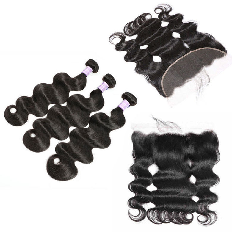 SocoosoHairWig body wave 3 bundles hair weft malaysian human hair plus 4x13 lace frontal