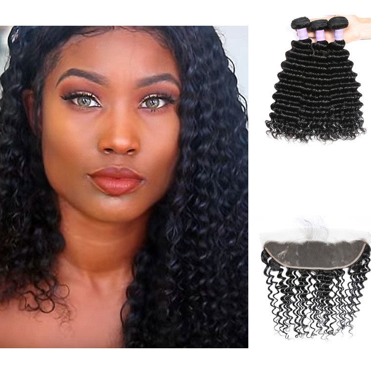 SocoosoHairWig top quality peruvian hair deep wave remy 3 bundle hair 1 lace frontal 13x4