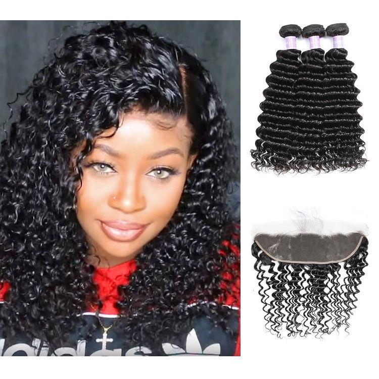 SocoosoHairWig indian deep wave 3 bundles virgin hair weave with free part lace frontal 13x4