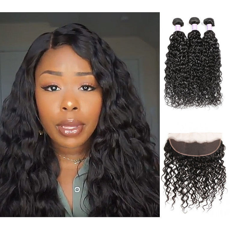SocoosoHairWig malaysian natural wave 3 pieces hair weave with 13x4 inch 1b color lace frontal