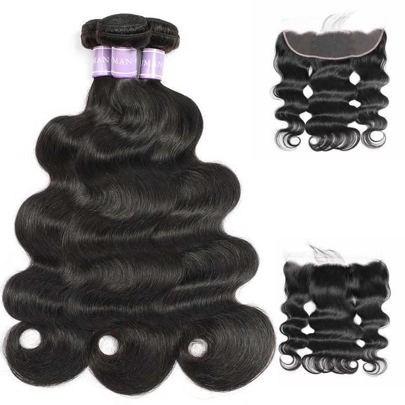 SocoosoHairWig original brazilian virgin hair body wave 3 bundles weave with 1pc 4x13 lace frontal