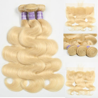 SocoosoHairWig quality indian hair body wave 3 bundles weaves with 13x4 square frontal of 613 blonde hai