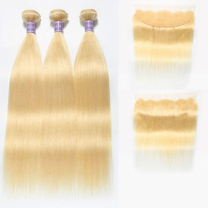 SocoosoHairWig 613 blonde peruvian hair straight 3 bundles plus 4x13 inch lace frontal piece