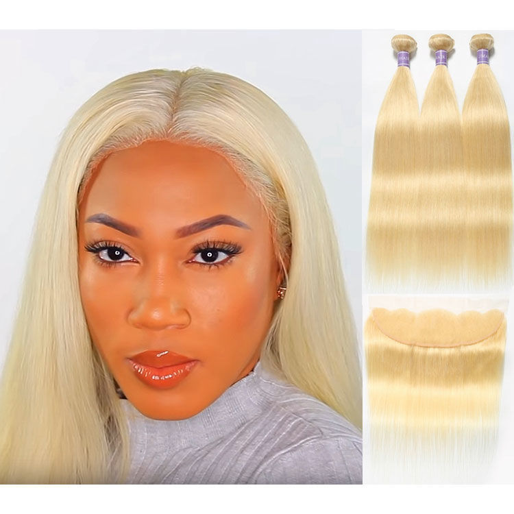 SocoosoHairWig 613 blonde 13x4 lace frontal closure with 3 bundles straight hair weaves
