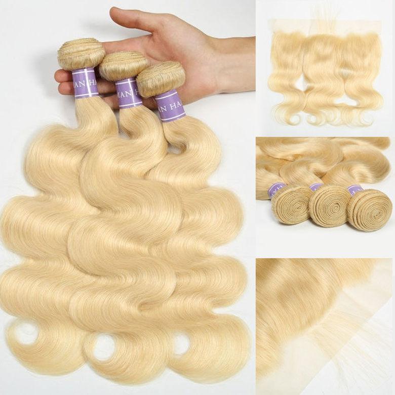 SocoosoHairWig virgin hair of 613 lace frontal 3 bundles brazilian virgin body wave hair