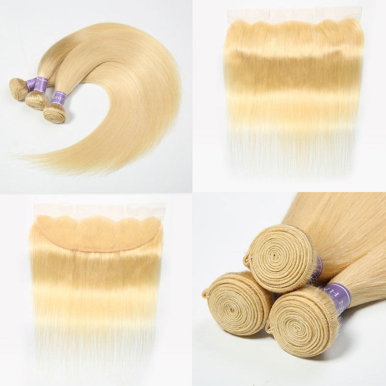 SocoosoHairWig 613 straight hair blonde lace frontal with 3 bundles malaysian virgin hair weave