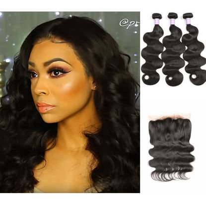 SocoosoHairWig 3 unit body wave human virgin hair 1 unit free part 360 lace frontal