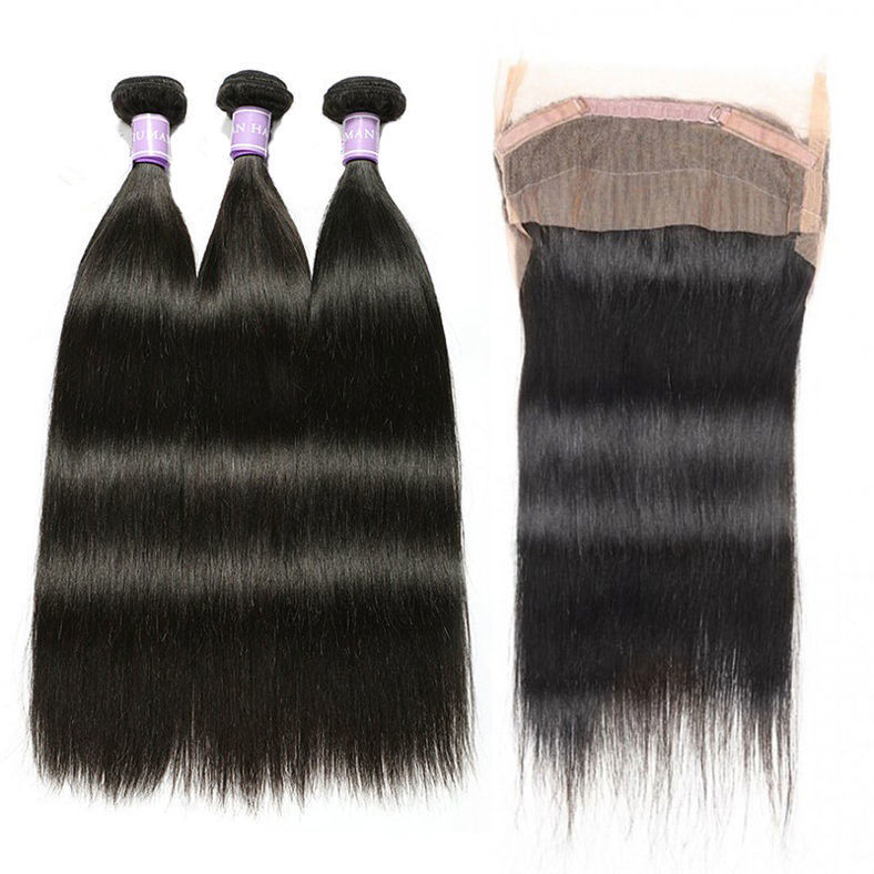 SocoosoHairWig malaysian straight 3 pcs virgin hair plus 1 pcs free part 360 lace frontal