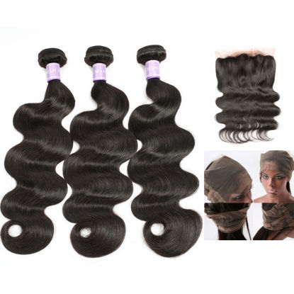 SocoosoHairWig indian body wave hair 360 lace frontal 1pcs 3 bundles virgin hair matched