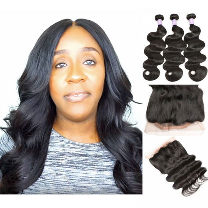 SocoosoHairWig peruvian body wave human hair 360 lace frontal with 3 bundles weave matched