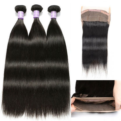 SocoosoHairWig straight human virgin hair 360 lace frontal closure with 3 bundles wefts