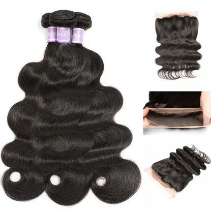 SocoosoHairWig 3 pcs brazilian natural black body wave virgin hair weave match 1 unit circle 360 lace fr