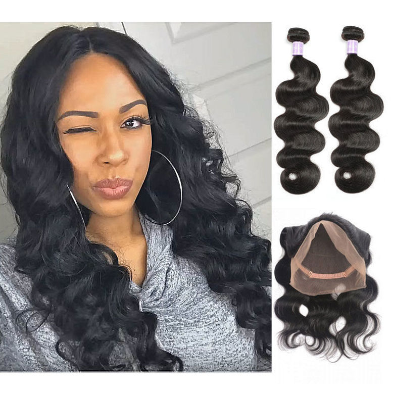 SocoosoHairWig brazilian 2 pcs body wave virgin human hair weft match 1 pcs 360 lace frontal
