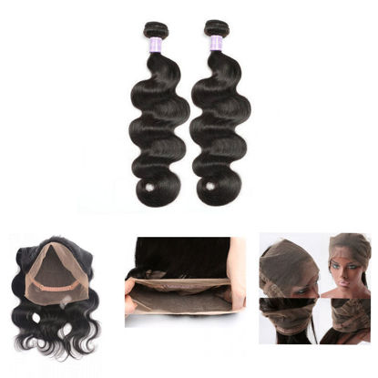 SocoosoHairWig indian body wave 360 lace frontal closure plus 2 bundle human hair weave