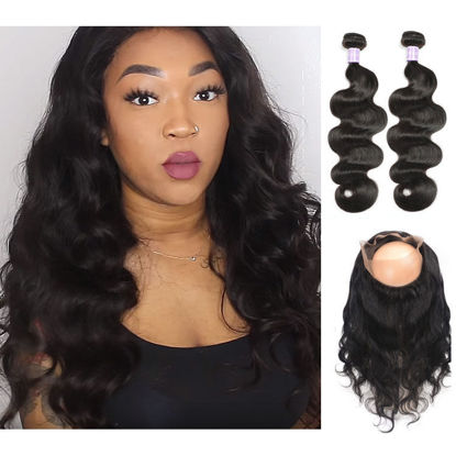 SocoosoHairWig 2 bundle body wave virgin human hair weave match 1 pcs circle 360 lace frontal for instal