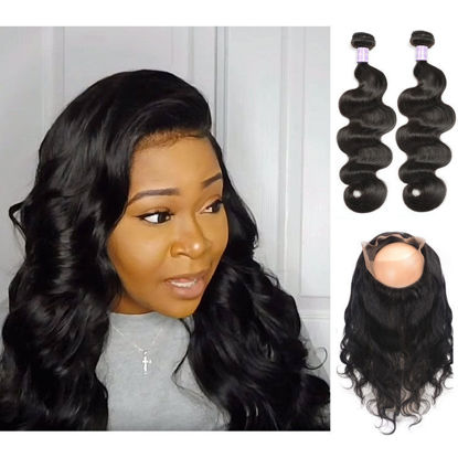 SocoosoHairWig malaysian 2 weave body wave virgin hair with 360 circle lace frontal