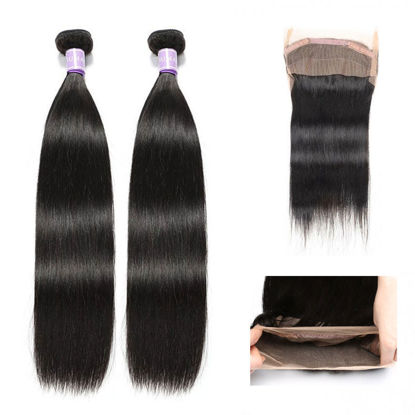 SocoosoHairWig peruvian straight 2 hair weave with total 360 lace frontal of virgin hair