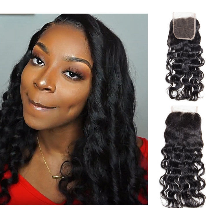 SocoosoHairWig natural wave indian virgin human hair 4x4 inch square free part swiss lace closures