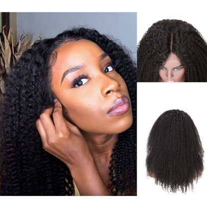 SocoosoHairWig kinky curly natural black half 360 lace remy human hair wigs 150 180 density for women