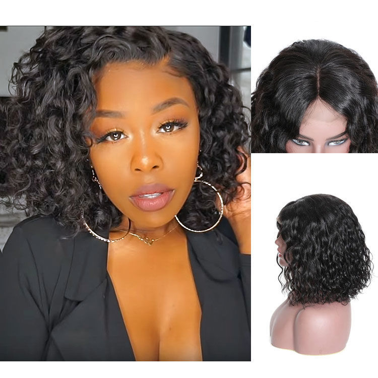 SocoosoHairWig short water wave real human hair bob lace front wig with high density