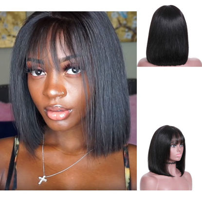 SocoosoHairWig 13x4 inch lace front virgin hair silky straight bob hair with bangs wigs